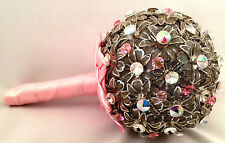 NEW WEDDING BROOCH BOUQUET PINK & SILVER CLEAR HAND MADE WITH SWAROVSKI CRYSTALS