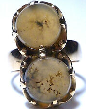 VICTORIAN NOUVEAU SIGNED 10K YELLOW GOLD TWO PIECE ROUND AGATE RING SIZE 6.5