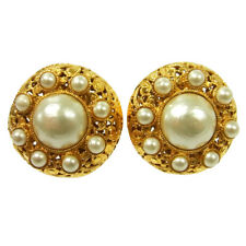 """Authentic Chanel Vintage Cc Logos Imitation Pearl Earrings Clip-On 1.6 """" M13492h"""