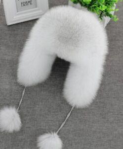 New Men Fox Fur Hat Snow Ski Winter Hats Women's Aviator Hat Trapper Cap Earflap