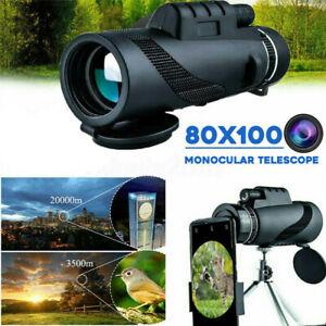 80X100 ZOOM HD OPTICAL MONOCULAR TELESCOPE NIGHT VISION+PHONE CLIP+TRIPOD Set az
