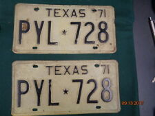 Vintage 1971 Texas License Plates (1 pair) White with Black Letters