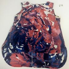Rose & Olive Womens Sz M  Floral High Low Tank Top Back Zip