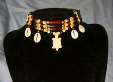 Handmade Native American Buffalo Bone Carved Turtle Choker Necklace NWOT