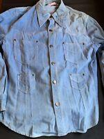 Cimone  Vintage 4 Pocket  Denim Shirt Button Front Western Men's Size Large L