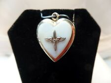 GOLD OVER STERLING & MOTHER OF PEARL VINTAGE AIRMAN LOCKET PENDANT # S1450
