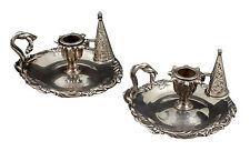Mortimer & Hunt English Sterling Silver Chamber Sticks London Circa 1840