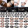 2018 Gift Unisex Leather Braided Bracelet Wristband Cuff Punk Men Ladies Bangle
