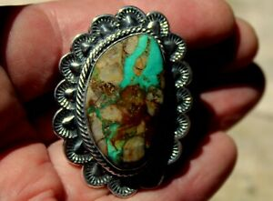 Massive Kevin Yazzie Navajo Sterling Silver Turquoise Stone Tufa Cast Ring