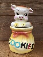 American Bisque USA Pottery Pig in a Poke Sack Bag Cookie Jar Vintage Kitchen