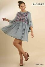 UMGEE PLUS SIZE EMBROIDERED BELL SLEEVE DRESS GREY XL