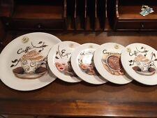 Effetti Italian Pottery Coffee Espresso Cappuccino Cookie Dessert Set  5 Plates