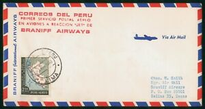 MayfairStamps Peru 1960 Lima to Dallas Texas Braniff First Flight Cover wwo78699
