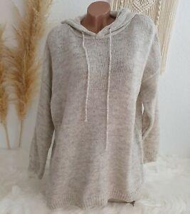 Italy Hoodie Pullover  Strick Pulli Kapuze Oversize Blogger Winter 38 40 42 Ecru