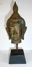 ANTIQUE BRONZE SUKHOTHAI BUDDHA HEAD ON PLINTH 19th CENTURY