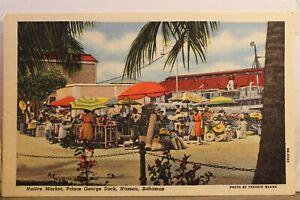 Bahamas Nassau Prince George Dock Native Market Postcard Old Vintage Card View