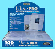 100 ULTRA PRO SILVER 9-POCKET Card Pages Sheets Binder baseball sport box coupon