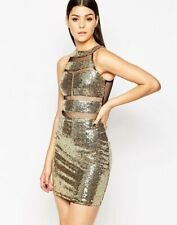 Club L Gold Sequin Mini Bodycon Evening Party Dress with Mesh Inserts UK 8 BNWT