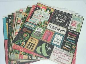 LOT TYPOGRAPHY GRAPHIC 45 DOUBLE SIDED CARDSTOCK DESIGNER PAPER 12 x 12
