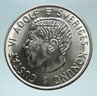 1954 SWEDEN King GUSTAV VI ADOLF 2 Kronor LARGE Silver SWEDISH Coin i80861