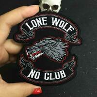 LONE WOLFNO CLUB biker patch for Jacket backing punk motorcycle embroidery patch