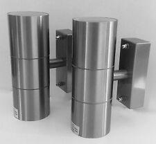 TWIN Pack Pilastro fuori porta parete luci/lampade in acciaio inox IP65
