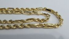 10K Yellow Gold 6mm Milano Rope Link Combo Hollow Chain Necklace 24 Inches