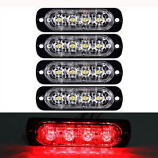 4pcs 4 LED Red Flash Grille Emergency Recovery Strobe Warning Light Car Truck