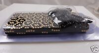 for Iphone 5 phone case bling faux crystals Leopard spots 3d  black bow