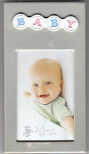 """Baby Picture Frame With Pastel """"BABY"""" On Top, Holds 1.75"""" x 2.75"""" Photo, New"""