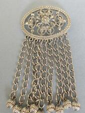 """Sarah Coventry 1969 """"Fashion in Motion"""" Oval Pin w/ 9 Dangling Chains"""