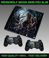 PLAYSTATION 3 SLIM CONSOLE STICKER WEREWOLF MOON SKIN & 2 CONTROLLER SKINS