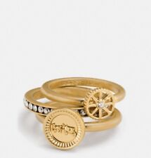 Coach PAVE HORSE AND CARRIAGE COIN RING SET RRP$300 Metal Plated Size 7