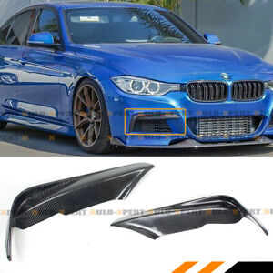 FOR 2012-18 BMW F30 F31 CARBON FIBER FRONT BUMPER UPPER TRIM AIR VENT COVER FANG