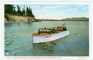 Postcard - Yellowstone NP, Speedboat Adelaide on Yellowstone Lake, by Haynes