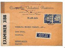 EL65 1941 WW2 PORTUGAL WARTIME AIRMAIL Porto Cover GB Censor London *HORSES*