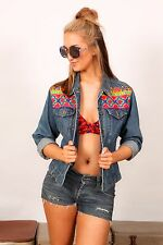 90s Vintage ethnic mirror embroidered indian esq denim jacket
