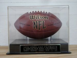 New England Patriots Football Display Case With A 6X Super Bowl Champs Nameplate