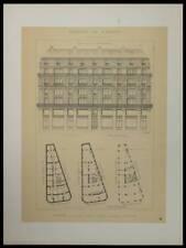 PARIS, 32 RUE ETIENNE MARCEL - 1895 - 2 GRANDES LITHOGRAPHIE - ARCHITECTURE