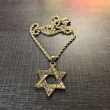 Men's 14k Gold Stamped Star of David Pendant Rope Chain Jewish Necklace 24 in
