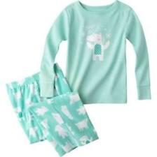 Schlafanzug~USA~74-80~Zweiteiler~Pyjama~Nachtwäsche~lang~türkis~Fleece~Eisbär