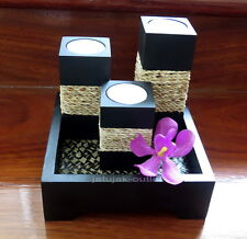 Candle Holder Tea Light Wood Black Handmade Square Rope Tray