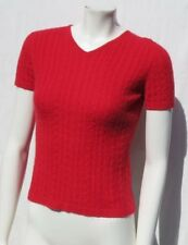 MENDOCINO Women's Red 100% Cashmere Cable Knit Short Sleeve Sweater size XS S