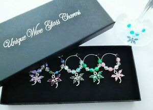 boxed set of 6 wine glass charms crystal dragonfly ideal gift dinner party