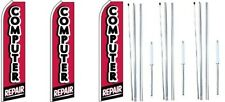 Computer Repair Swooper Flag With Complete Hybrid Pole set- 3 pack