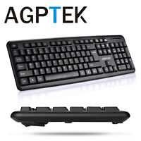 AGPtek Slim USB Wired Keyboard for Windows 10 / 8 / 7 / Vista/XP  Plug and play