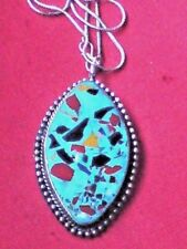 "AUTHENTIC INDIAN TURQUOISE RESIN 7cm.PENDANT on a 18""SILVERTONE CHAIN £6.99 NWT"