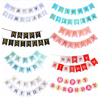 Happy Birthday  Bunting Banner  Wedding Birthday Party Decor Kids Favors Garland
