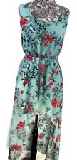 ASOS Dress Womens Size 4 Green Floral Pullover Sleeveless Side Zipper High Low