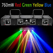 4 Lens 760mW Red Green Yellow Blue Stage DJ Laser Disco 4 Beam Light Auto/DMX512